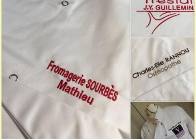 Broderie personnalisée sur vestes de cuisine