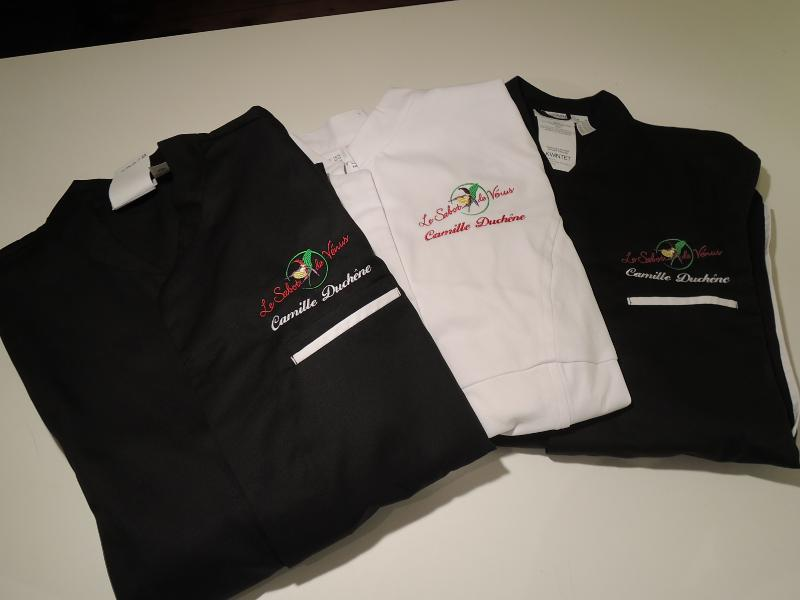 Veste de cuisine brodée logo restaurant Sabot de Vénus